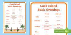 Cook Islands Language Basic Salutations A4 Display Poster Te Reo Māori/English