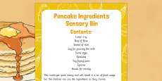 Pancake Ingredients Sensory Bin