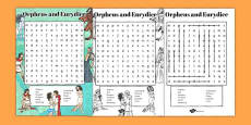 Orpheus and Eurydice Wordsearch