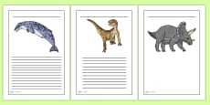 Realistic Dinosaurs Writing Frames