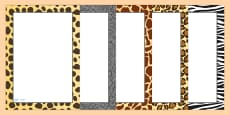 Safari Animal Pattern Themed Portrait Page Borders