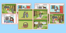 Little Red Riding Hood Story Sequencing 4 per A4 Speech Bubbles Arabic Translation