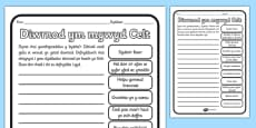 A Day in the Life of a Celt Activity Sheet Differentiated Welsh