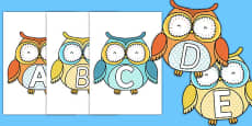 A-Z Alphabet on Cute Owls