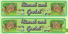 Hänsel und Gretel Banner für die Klassenraumgestaltung