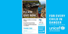 Unicef Nepal Earthquake A4 Poster