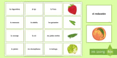 Fruit and Vegetables Matching Cards Spanish