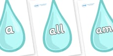 Foundation Stage 2 Keywords on Water Droplets