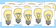 Tricky Words on Light Bulbs (Plain)