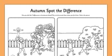 Spot the Difference Autumn Colouring Activity Sheet