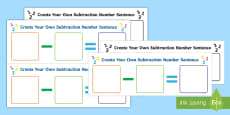 Create Your Own Subtraction Number Sentence Activity Sheet