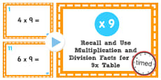 Multiplication and Division Facts for the 9 Times Table PowerPoint Test
