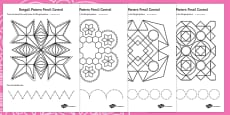 Rangoli Pattern Pencil Control Activity Sheets