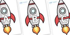 A-Z Alphabet on Rockets (Plain)