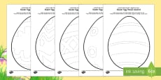 Easter Egg Pencil Control Activity Sheet Pack Arabic/English