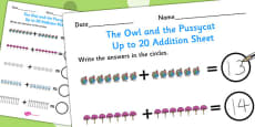 The Owl and the Pussycat Up to 20 Addition Sheet
