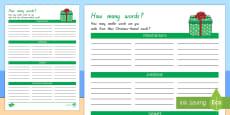 New Zealand Christmas: How Many Words? Activity Sheet