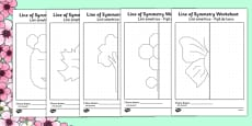 Spring Themed Symmetry Worksheets Romanian Translation