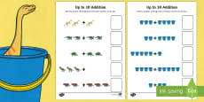 Up to 10 Addition Sheet to Support Teaching on Harry and the Bucketful of Dinosaurs