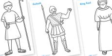 David and Goliath Story Colouring Sheets