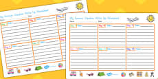 My Summer Vacation Write Up Activity Sheet