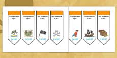 Editable Pirates Bookmarks