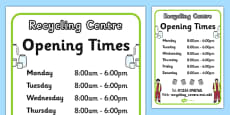 Recycling Centre Role Play Opening Times