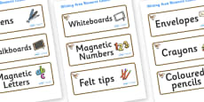Wren Themed Editable Writing Area Resource Labels