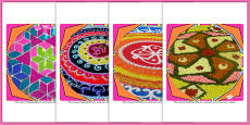 Rangoli Pattern Display Photo Cut Outs