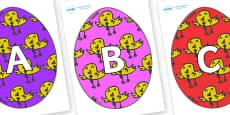 A-Z Alphabet on Easter Eggs (Chicks)