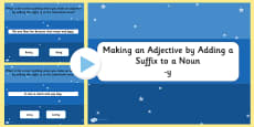 Making an Adjective by Adding the Suffix y to a Noun SPaG PowerPoint Quiz
