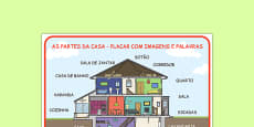 Parts of a House Word Mat Portuguese