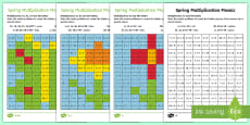 * NEW * KS1 Spring Multiplication Mosaics Differentiated Activity Sheets