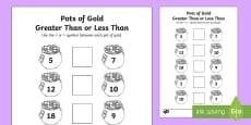 Pot of Gold Greater Than or Less Than Math Activity Sheet