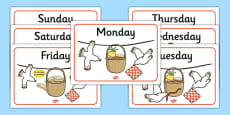 Days of the Week Posters to Support Teaching on The Lighthouse Keeper's Lunch