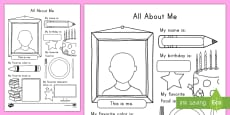 * NEW * All About Me Activity Sheet