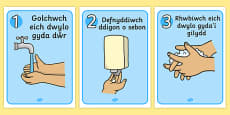 Welsh How To Wash Your Hands Posters