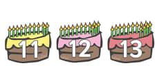 Numbers 11-20 on Birthday Cakes