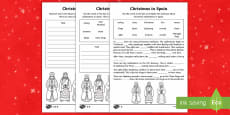 KS1 Christmas in Spain Differentiated Writing Activity Sheet