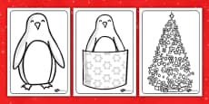 Monty the Penguin Colouring Sheets