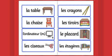 French School Equipment Vocabulary Cards