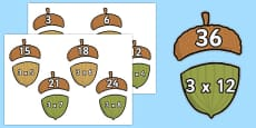 Multiplication 3x Acorn Matching Activity