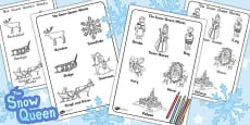 The Snow Queen Words Colouring Sheet