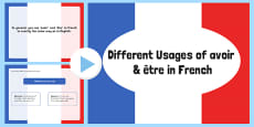 Different Usages of avoir (To Have) and étre (To Be) PowerPoint French