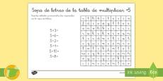 Ficha de actividad: Sopa de letras - La tabla de multiplicar x5