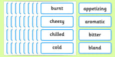 Food Adjectives Word Cards
