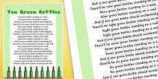 Ten Green Bottles Nursery Rhyme Poster