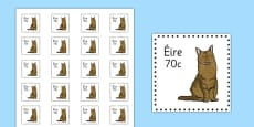 Irish Postage Stamps Cut Outs