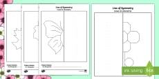 Spring Themed Symmetry Activity Sheets English/Italian