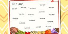 Food Themed Editable Word Mat